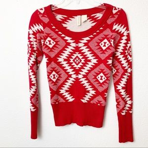 Red Camel Womens Sweater LS pullover Red/White